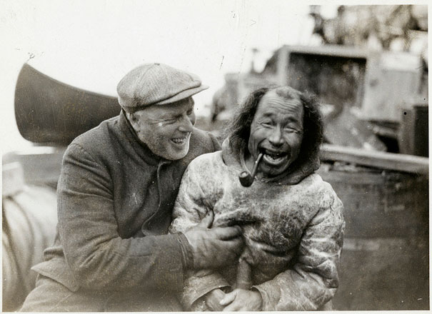 Bob Bartlett and local inhabitant aboard ship during Bartlett's Arctic Expedition, 1933